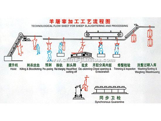 [原创]¤青岛建华:羊屠宰加工工艺流程图